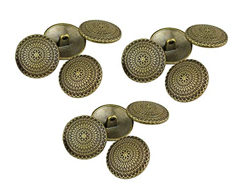 Rechere 12 Stück Vintage Kreise Blumen Muster Metall Schaft Knöpfe Handwerk für DIY Nähen Verzierung 25mm antique bronze