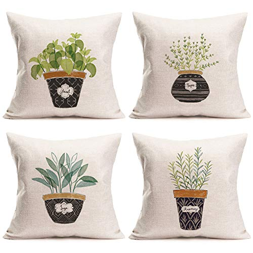ShareJ Bonsai Plants Theme Throw Pillow Covers Basil Thyme Sage Rosemary Pattern 18 X 18 Inch Home Decorative Cushion Cover 4 Pack for Couch Garden Indoor Outdoor Décor Cotton Linen Pillow Cases