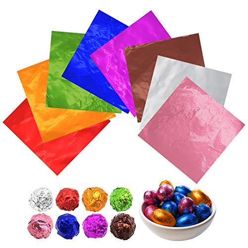 JJYHEHOT Papel De Chocolate De Papel De Aluminio Dorado, Utilizado Para El Envasado De Dulces De Chocolate, Lo Que Hace Que Los Dulces Sean Atractivos (800 Piezas)