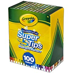 100 CRAYOLA MARKERS: One 100ct pack of Crayola Super Tips Markers in assorted colors. THICK & THIN LINES: Supertips Markers can make thick or thin lines for a variety of coloring techniques. CRAYOLA COLORS: This bulk marker set features 100 different...