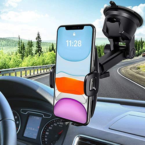 Mpow Porta Cellulare da Auto, Supporto Auto Smartphone con Ventosa per Cruscotto Parabrezza per Telefono da Scrivania, 2 Livelli di Aspirazione, per GPS, iPhone, Galaxy, Xiaomi, MP3, ed ECC.