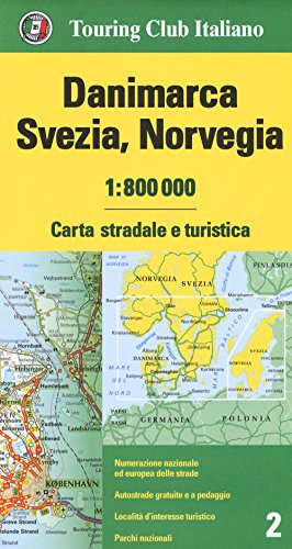 Dinamarca, Suecia y Noruega 1:800.000 (Carte d'Europa 1:800.000)