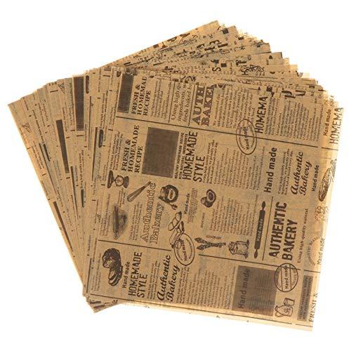 Cabilock 50 Blatt Deli Papierblätter Sandwich Wrap Papier Einweg Fettdichte Papierblätter Lebensmittelkorb Liner für Pommes Frites Burger Kuchen