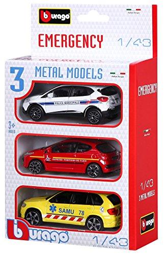 Bburago-Bburago-30009-Street Fire-Emergency Forces France-Echelle 1/43 Pack d'urgence, 30009, Pack Aléatoire de 3 vehicules