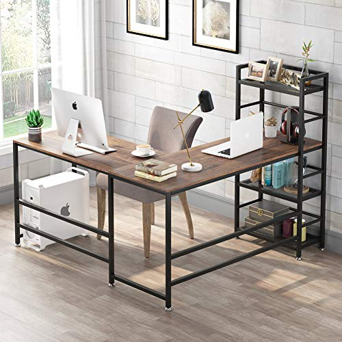 Tribesigns 59 Inch L Shaped Computer Desk, Corner Desk with 4-Tier Storage Shelves, Rustic L-Shaped Desk with Bookshelves for Home Office, Writing Study Workstation PC Gaming Table L Desk (Walnut)