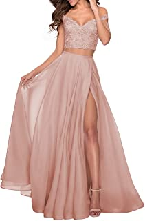 Sponsored Ad - WaterDress Women's Two Piece Prom Dresses Long with Slit Off Shoulder Lace Chiffon Formal Party Gowns with ...