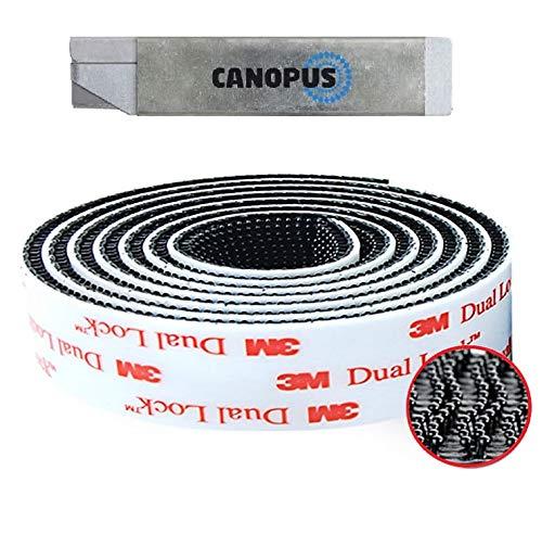 CANOPUS 3M Dual Lock Extra Fuerte, Impermeable Dual Lock SJ3550 (25,4mmx1m), Adhesivo Cinta Fijación, (5X mas fuertes que la cinta de gancho y bucle), Cintas Adhesivas de Doble Cara, Negro