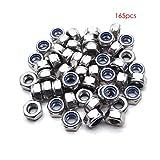 140pcs m3 m4 m5 m6 m8 m10 m12 kit d'assortiment noix écrou hexagonale -304 en acier inoxydable par craftsman168