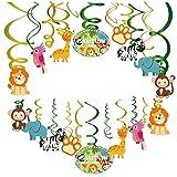 Kristin Paradise 30Ct Safari Animals Hanging Swirl Decorations, Jungle Party Supplies, Wild Birthday Theme Decor for Boy Girl Baby Shower, Tribal 1st Bday Favors Idea