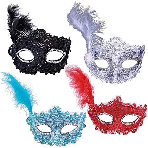 4 Piezas Mascarillas de Mascarada Máscara de Plumas Disfraz Máscara...
