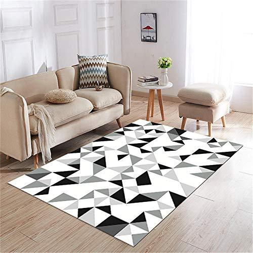 Kunsen alfombras de Salon Modernas Alfombra Comedor Grande Alfombra geométrica Gris patrón Negro Ahora decoración de Sala de Estar dormitorios Juveniles Infantiles 80X200CM 2ft 7.5' X6ft 6.7'