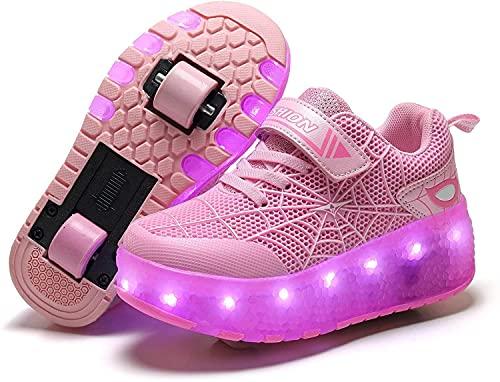 WSZMD Zapatos De Patinaje - Patines De Rodillo De Carga OSB-PRODL Zapatos De Patinaje De La Rueda De Flash - Hombres Y Mujeres De Dos Ruedas Zapatos De Ruedas De Deformación De Niños,Pink-31