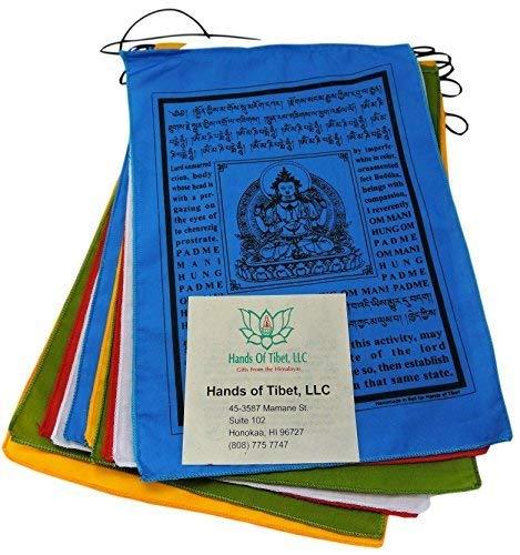 Hands Of Tibet Handmade Buddha of Compassion Prayer flags with English Translation (9x12)