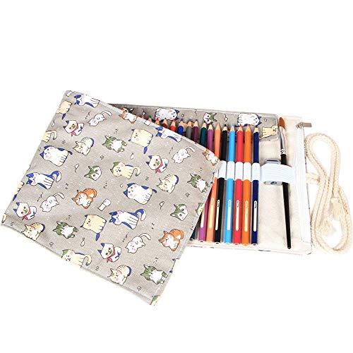 Damero Wrap Leinwand Stifterolle für 72 BuntStifteetui Roll-up (Cartoon Cats, 72 Holes)