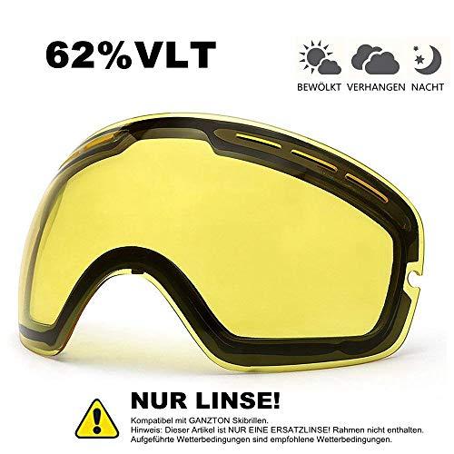 GANZTON Skibrille Schnell Austauschbaren Linsen Snowmobile Snowboard Skate Linse mit UV Schutz Schnell Ändern Spherical Frameless Skibrille(Skibrille Linsen)