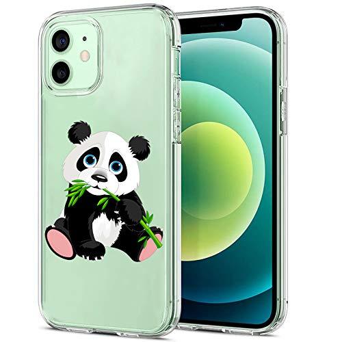 Funda para iPhone 12 5G Case 2020, diseño de panda transparente, de silicona TPU suave, amortiguación, diseño resistente a los arañazos, funda transparente para iPhone 12 1 L