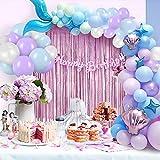 Kit de guirnalda de globos de sirena con cortina de flecos de aluminio, suministros de fiesta con arco de cola de sirena con globos de confeti verde púrpura para decoraciones de fiesta de cumpleaños
