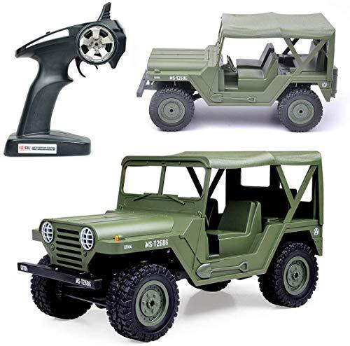 CYLYFFSFC Camión Militar RC, 1:14 4WD Coche Militar Todoterreno con Control Remoto con 2 Faros LED, Modelo de Coche de Control Remoto de Escalada a Gran Escala de 2,4G