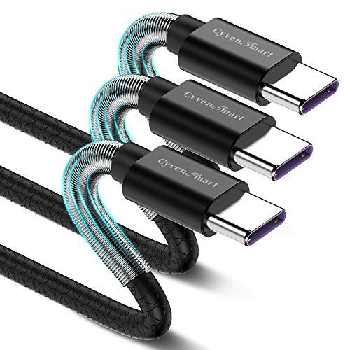 Cabo USB tipo C curto de 30 cm, pacote com 3 USB A 2.0 para USB-C carregador rápido durável TPE cabo compatível com Samsung Galaxy S10 S9 S8 Plus Note 9 8, Huawei, Moto Z Z2, LG V30 V20-Preto