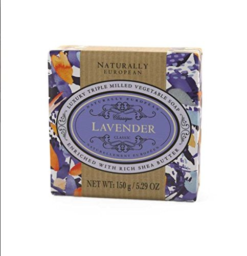 Naturally European Lavender Wrapped Luxurious Triple Milled Vegetable Soap Bar - 150g | For Men and Women, Face and Body | Moisturizing Body Wash Soap