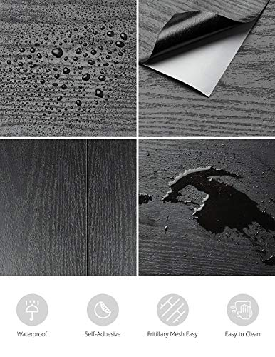 17.71 X 78.7 Black Wood Contact Paper Decorative Self-Adhesive Film for Furniture Real Wood Tactile Sensation Surfaces Easy to Clean