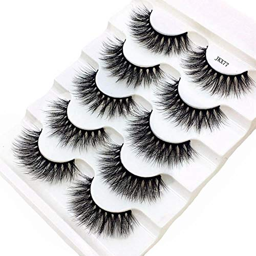 KADIS 5 Pairs Eyelashes 3D False Lashes Thick Crisscross Makeup Eyelash Extension Natural Volume Soft Fake Eye Lashes,JKX77