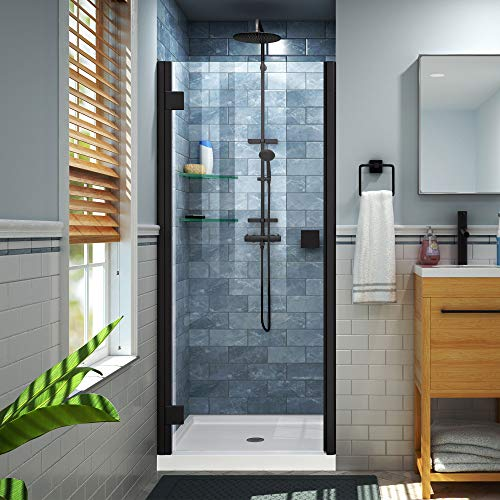 Lumen 36 in. D x 42 in. W by 74 3/4 in. H Hinged Shower Door in Satin Black with White Acrylic Base Kit - DreamLine DL-533642-09
