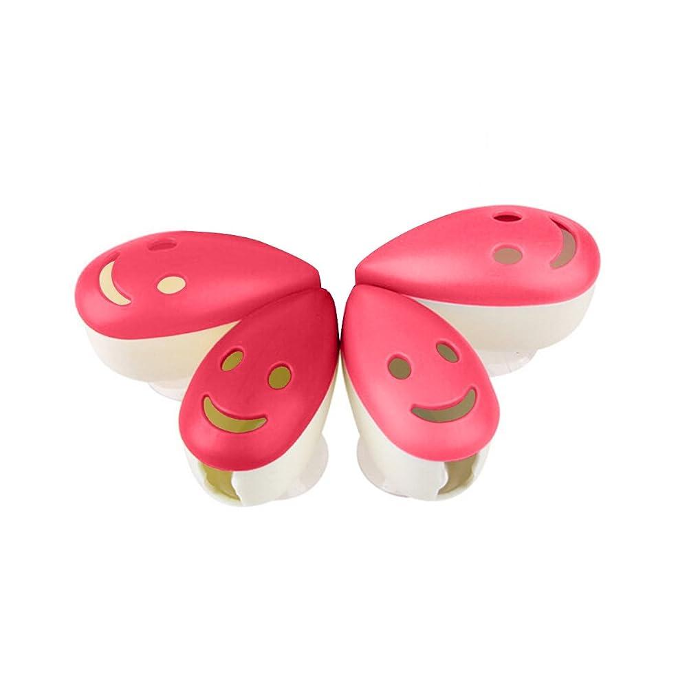 美徳友だち感動するROSENICE 歯ブラシケース4個のスマイルフェイス抗菌歯ブラシホルダーサクションカップ(混合色)