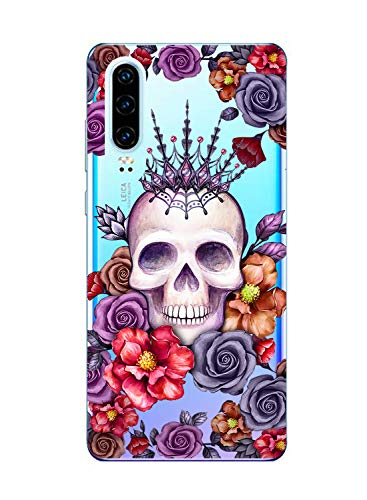 Oihxse Clair Crystal Soft Silicone Compatible pour Huawei P20 Coque Transparente TPU Crâne Rose Motif Design Housse Ultra Mince Protection Antichoc Etui(E5)