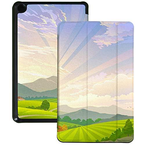QIYI Funda para Kindle Fire 7 Tablet 9ª Generación Infantil Funda delgada ligera plegable con múltiples ángulos de visión Smart Case con función de encendido y apagado automático - Scenic Meadow