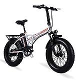 sheng milo Bicicleta eléctrica de 20 Pulgadas Bicicleta eléctrica, Bicicleta eléctrica Plegable, Fat Tire Ebike, 48V 15AH, 500W (Blanco)