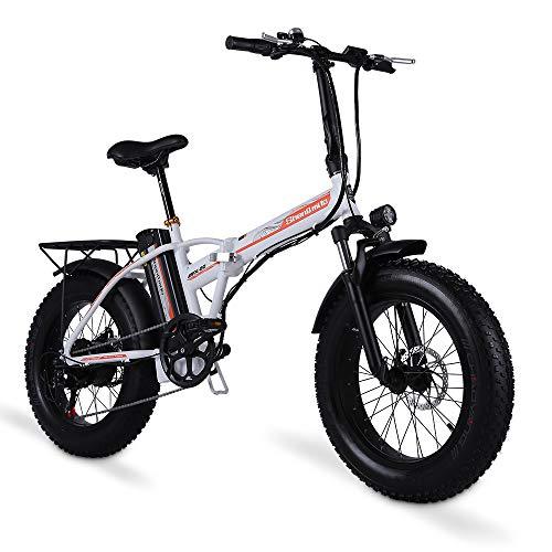 Shengmilo Bicicleta eléctrica de 20 Pulgadas Bicicleta eléctrica, Bicicleta eléctrica Plegable, Fat Tire Ebike, 48V 15AH, 500W (Blanco)