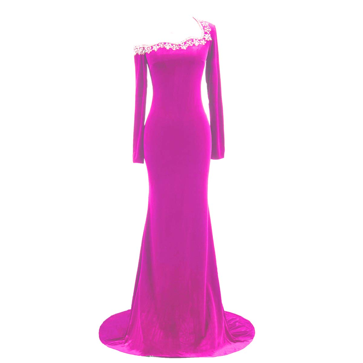 Available at Amazon: TTYbridal Prom Dresses Velvet Long Evening Party Gown with Beading V7