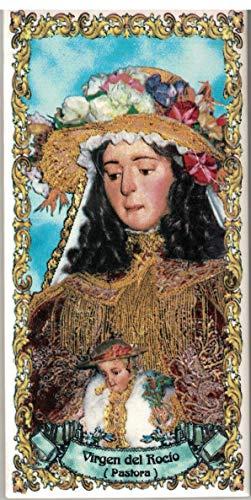 Virgen del Rocío (Pastora). Azulejo fabricado artesanalmente para decorar. Cerámica para colgar. Calca cerámica (7x15 cms)