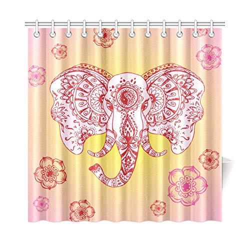 JOCHUAN Élégant Abstrait de Rideau en décoration de Salle de Bain en Tissu  Indien de Style Polyester Mehndi Rideau de Douche imperméable Crochets de  ...
