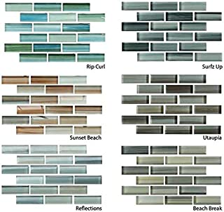 Hand Painted Glass Mosaic Subway Tiles - Six Piece Sample Combo Pack for Bathroom Walls or Kitchen Backsplash