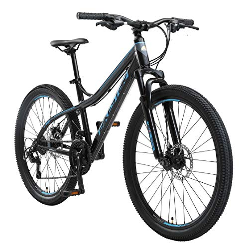 BIKESTAR Hardtail Aluminium Mountainbike Shimano 21 Gang Schaltung | Scheibenbremse 26 Zoll Reifen | 16 Zoll Rahmen Alu MTB | Schwarz & Blau