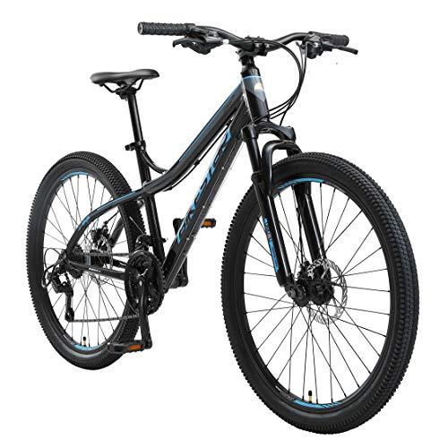 BIKESTAR Hardtail Mountain Bike in Alluminio, Freni a Disco, 26' | Bicicletta MTB Telaio 16' Cambio Shimano a 21 velocità | Noir Blu