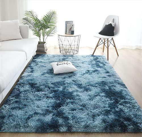 linyingdian Alfombra rectángulo Shaggy para Salón habitación de los Niños Dormitorio - Alfombra Antideslizante Muy Suave, Lavable, Tie-Dye, al Aire Libre Interior. (Azul, 80×120cm)