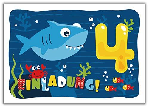 12 Einladungskarten zum 4. Kindergeburtstag vierte Geburtstag Jungen Jungs Mädchen Hai Einladungen zum Geburtstag