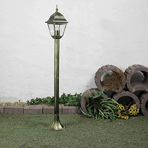 *Rustikale Standleuchte in antik-gold inkl. 1x 12W E27 LED Stehleuchte aus Aluminium Glas Stehlampe für Garten Terrasse Standlampe Garten Weg Terrasse Lampen Leuchte außen*