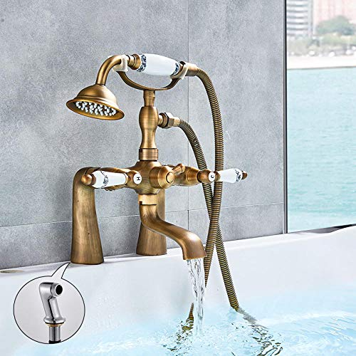 Gnailur Antiguo bañera bañera ducha grifo porcelana deco deco dual manijas mezclador toque Montaje de cubierta con ángulo grifo de ducha ajustable