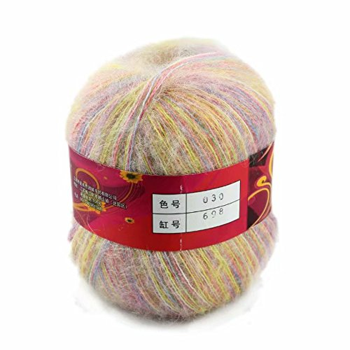 Artilin One Skein Soft&Warm Angola Mohair Cashmere Wool Knitting Yarn 50g,Multi-colored030