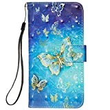 Voanice Galaxy A11 Case,Premium PU Leather Wallet Phone Case with Card Holder Slots Kickstand Flip Cover Magnetic Wrist Strap Full Body Protective Girls Women Men for Samsung Galaxy A11-BlueButterfly