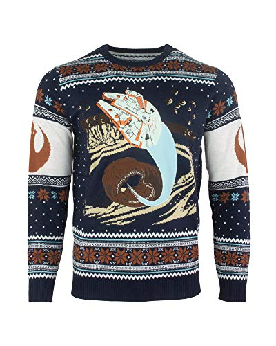 Star Wars Maglione Di Natale Millennium Falcon Space Slug Escape Unisex - 3XL