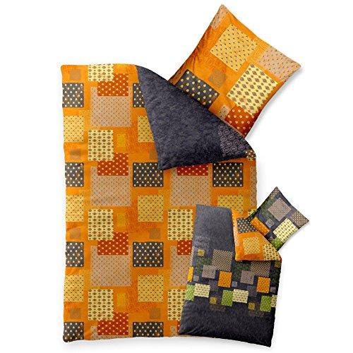 aqua-textil Trend Bettwäsche 135 x 200 cm 2teilig Baumwolle Bettbezug Adia Kariert Grau Orange Grün