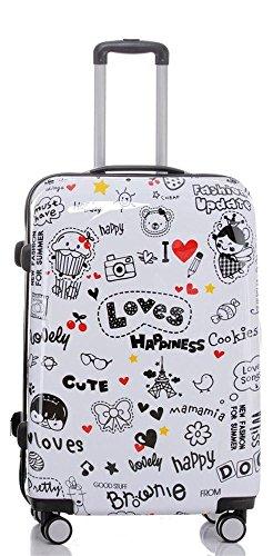 Set jusqu'á 3 Valise rigide de voyage bagage à roulettes 360° policarbonate ABS (XL, Love Amour)