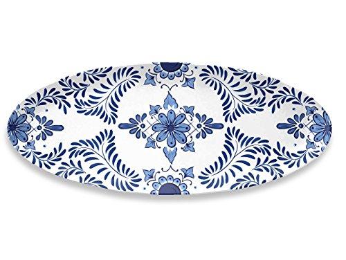 Emporio Zani Touch Mel SANTORINI Assiette ovale 100 % mélamine Blanc/bleu