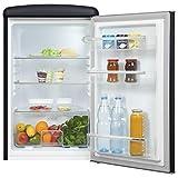 Exquisit Retrokühlschrank RKS120-V-H-160F mattschwarz | Standgerät | 121 l Volumen | mattschwarz