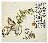 Obras de Arte Italia Flores y pájaro, verduras y frutas-papel Art-32'x73'